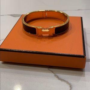 HERMES Narrow Enamel Clic Clac H Bracelet black